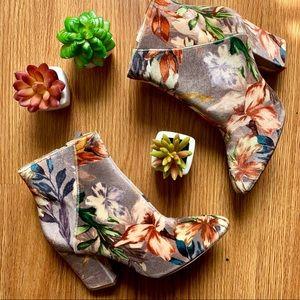 Floral Velvet Ankle Boots